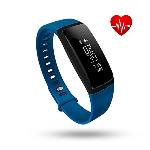 Fitness Tracker, Tonbux Upgraded Smart Watch Wristband Heart Rate Monitor, Blood Press Monitor, OLED Pedometer Bluetooth 4.0 for Outdoor Running Walking For iOS Android Smart Phone (V7 Blue)