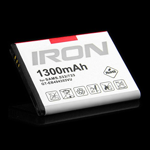 EB494353VU Akku für Samsung Wave 525 533 578 723 S5250 S5330 S5780 Accu – 1300 mAh Hohe Energie 4,81 Wh - T4HPP