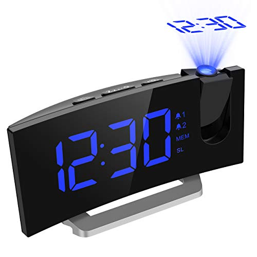 """Mpow FM Radio Reloj Despertador con Proyector de Alarma Dual con 4 Sonidos, 3 Tonos, 5 Brillos, Pantalla LED 5"""", Puerto USB, 12/24 horas, Snooze, Azul"""