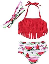 cfc0722a2 Mitlfuny Bañadores Conjuntos Ropa bebé Traje de Baño Niña Cuello Halter  Bikini Playa Piscina Borla Sandia