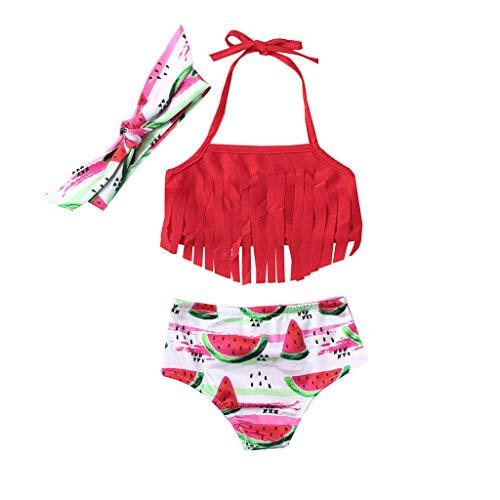 DressLksnf Baby Mädchen Schwimmanzug Badeanzug Bademode 2tlg Neckholder Leopardmuster Blumenmuster Bikini Set für Kleinkinder Quaste Wassermelone Print Bikini Set(Rot,70)