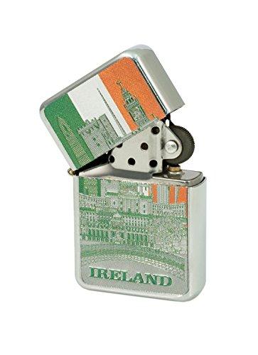 Windfestes Feuerzeug mit Irland-Motiven, dreifarbig, foliert