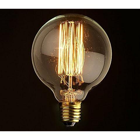 Lampadina Edison decorativa 40W G95 E27, lampadina alogena con filo a incandescenza, lampadina a incandescenza con bulbo a sfera vintage all'antica – 420 lm – 2200 K, luce bianca calda