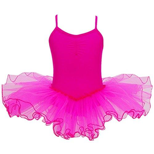 Rose Rosa Ballerina Kostüm - iiniim Mädchen Kleider Ballettkeider Ballettanzug Turnanzug Trikot Tanz Leotard Kleider mit Tüll Rock Rose 122-128/7-8 Jahre