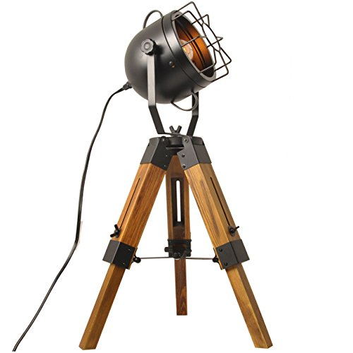 Lampadaire Trepied Vintage Retro Lampe De Table Trepied Bois Projecteur Industrielle Cinema Noir Metal Salon Sur Pied