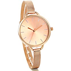 JewelryWe Womens Classics Analog Quartz Stainless Steel Mesh Band Bracelet Dress Watch Rose Gold