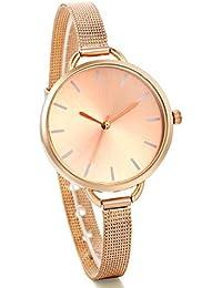 JewelryWe Reloj de Chica, Diseños Minimalistas con Correa Ultra Fina Milanés, Moderno Reloj Oro Rosa para Mujer, 2016 Nueva Moda