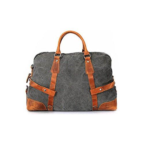 Paonies Damen Herren Tasche Handtasche Handgepäck Reisetasche Canvas Sporttasche Umhängetasche (Hellbraun) Grau