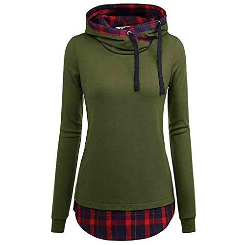 (JUTOO Damen Kapuzenpullover Langarmshirt Damen schwarz Rundhals Mit Diagonal Kragen Shirt und Top Bluse(Grün,EU:40/CN:XL))