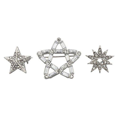 Lux accessori argento natalizio fiocco di neve stella Spilla Pave Set di 3