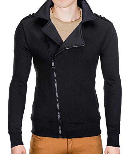 BetterStylz BranMarBZ homme sweat veste sportif épaulette militaire 2 coleurs (S-XXL) Noir