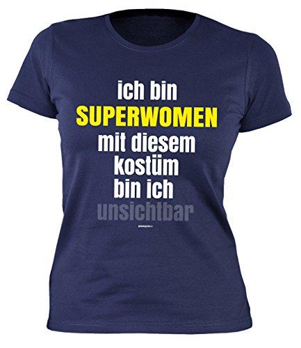 Kostüme Halloween Arten Von Superwoman (Fastnacht Girlie Shirt ::: Ich bin SUPERWOMAN und mit Kostüm unsichtbar ::: Karneval Fan und)