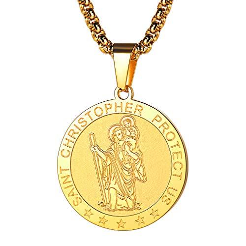 FaithHeart Halskette für Damen Frauen Autoplakette HL. Christophorus 3,0cm, Heilige Anhänger, gesegnet und geweiht,18K Vergoldet (Vergoldete Anhänger Für Männer)