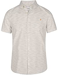 Farah Vintage Homme Slim Fit Shortsleeved Thorpley Motif Logo Shirt, Blanc