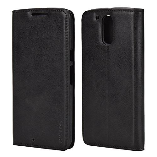 Mulbess Ledertasche im Ständer Book Case für Motorola Moto G4 und Moto G4 Plus Tasche Hülle Leder Etui,Schwarz