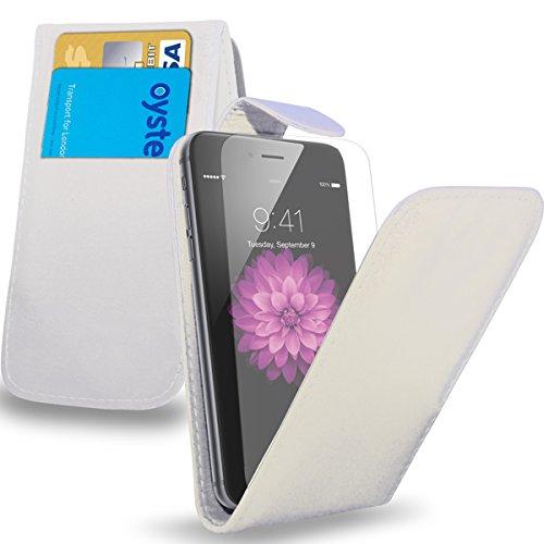 Apple iPhone 6 Plus - Leder Flip Case Tasche + Mini Stylus Pen + Schutzfolie und Poliertuch ( Hot Pink ) Weiß