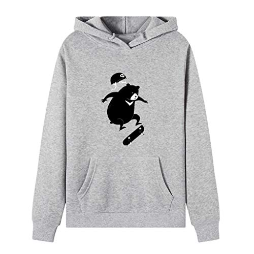 Damen Herbst Winter T-Shirt V-Ausschnitt Lange Ärmel Hemd Lose Beiläufige Frauen Sexy Weste Cartoon Bär Tee Baumwolle Polyester Große Tasche Bluse Sweatershirt Pullover Tops (EU:40, Grau) -