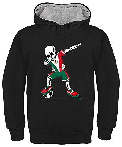 HARIZ Kinder Hoodie Kapuzenpullover Kontrast Fussball Dab Skelett Mexiko Land Trikot Plus Geschenkkarten Schwarz/Hell Grau 152/12-13 Jahre -