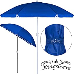 Kingsleeve - Parasol inclinable - Parasol de Plage - Bleu - Réglable - Hydrofuge - 200cm - Plage Pique-Nique Jardin Terrasse Pare-Soleil