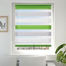 Estor Enrollable Noche y Día, Estor Enrollable Doble Tejido Verde Gris Blanco 70 x 150 cm