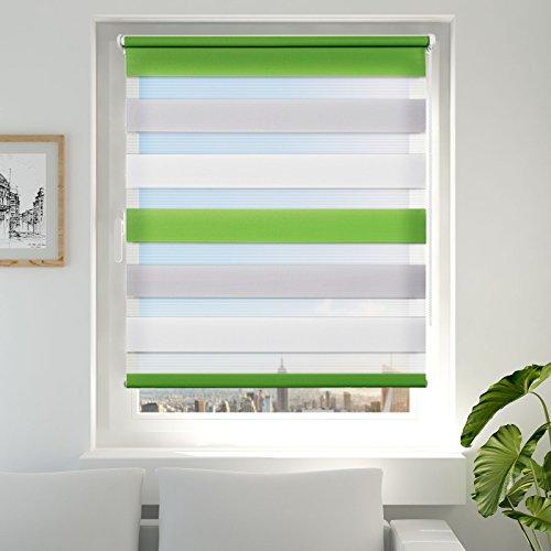 Achollo Double Store Enrouleur Jour Nuit pour Fenêtre & Porte – Montage Facile sans Perçage - 65 x 230 cm Vert Gris Blanc