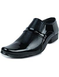 Shoe Island  Premium Designer Patent Leatherette Shining Black Party Wear Slip-On Formal Shoes For Men
