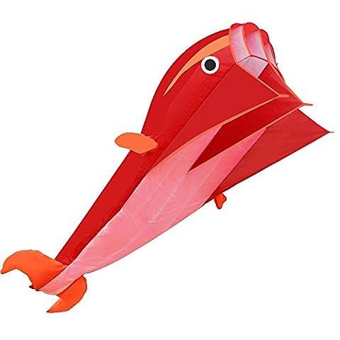 D-FantiX Großer Drachen 3D Dolphin Style Soft Parafoil Drachen für Kinder und Erwachsene, Single Line, 7 Fuß (Anfänger Single Line Kite)