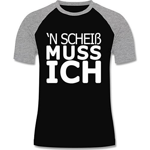 Statement Shirts - 'N Scheiß muss ich - zweifarbiges Baseballshirt für Männer Schwarz/Grau Meliert