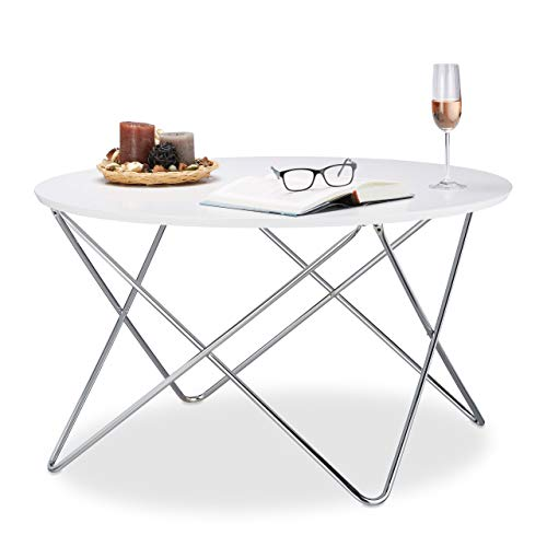 Moderne Stahl-kaffee-tisch (Relaxdays Beistelltisch rund, Couchtisch Holz mit geschwungenen Metallbeinen, Wohnzimmertisch groß, HxBxT: 50x90x90 cm, weiß)