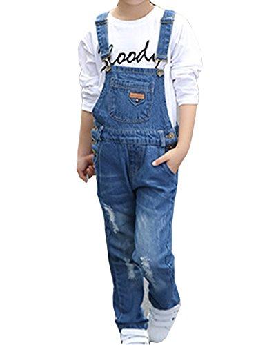 Salopette per bambini salopette bambini pantaloni lunghe jeans tuta overalls denim ragazze blu 130