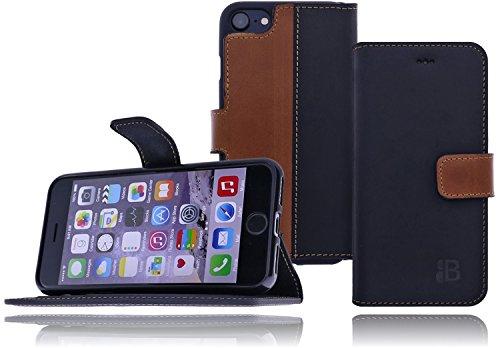 Burkley Apple iPhone 8 / iPhone 7 Hülle | Tasche | Lederhülle | Handyhülle | Ledertasche | Handytasche | Schutzhülle | Flip Cover | Book Case | bruchfester Innenschale | Kartenfach (Schwarz) Schwarz-Tabba