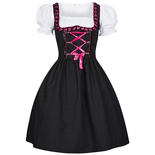 Dirndl Iwona schwarz mit Schürze pink Gr. 44 - 2