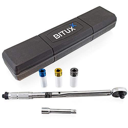 """BITUXX® Drehmomentschlüssel Set 1/2"""" 28-210 Nm Ratsche Drehmoment Schlüssel inkl Felgenschutz Schlagnüsse Nüsse (17 mm / 19 mm / 21 mm) für PKW Auto KFZ Radewechselset"""