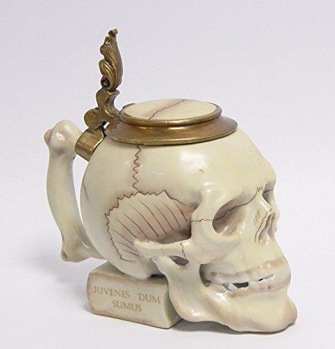 Ellas-Wohnwelt - Jarra de porcelana (19,5 x 11 x 20 cm), diseño de calavera, color bronce