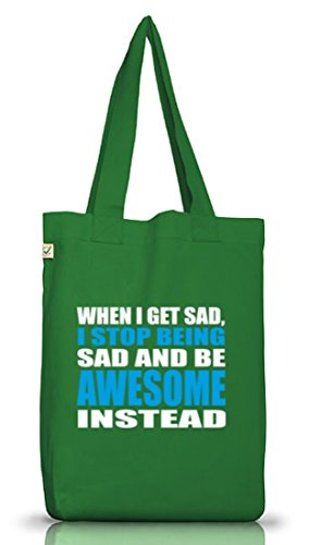 Shirtstreet24, When I Get Sad..., Jutebeutel Stoff Tasche Earth Positive (ONE SIZE) Moss Green