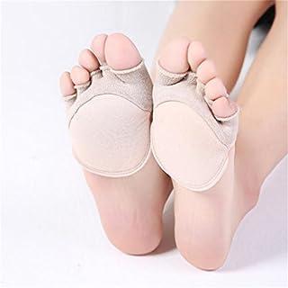 JOOFFF Cotton Toe Topper Socken für Frauen Peep Toe Socken Vorfuß Socken Toe Cover Half Palm Socken für Pumps und Peas Schuhe, Beige
