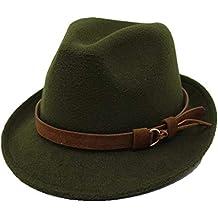 JiuRui Gorros y Sombreros Cinta de Cuero Caballero Elegante Dama Sombrero  Mujeres Hombres Lana Sombrero Fedora 7f55ab987f67
