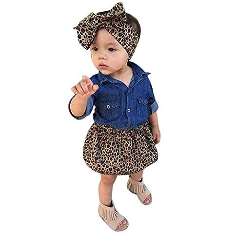 Bekleidung Longra Baby Kleinkind Kinder Mädchen Kleidung Outfits Jeanshemd Bluse+ Leopard Rock + Stirnband 3PC Set Sommerkleid (0-5Jahre) (120CM 4-5Jahre,