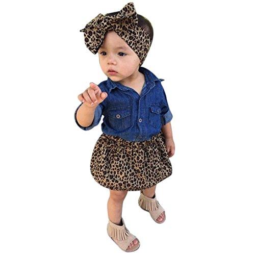 City Bei Kostüme Party Kleinkind (Bekleidung Longra Baby Kleinkind Kinder Mädchen Kleidung Outfits Jeanshemd Bluse+ Leopard Rock + Stirnband 3PC Set Sommerkleid (0-5Jahre) (100CM 2-3Jahre,)