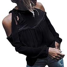 Mujer camiseta blusa casual elegante Otoño,Sonnena ❤ Camisa de chifón sexy de color