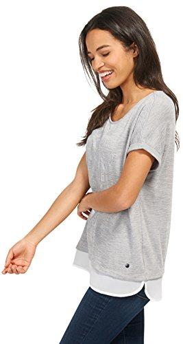 TOM TAILOR Damen T-Shirt Layered Top Coal Grey
