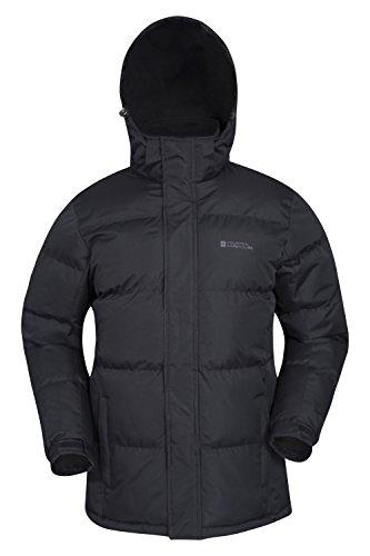 Mountain Warehouse Snow Mens Jacket - Water Resistant Rain Coat, Detachable Hood, Adjustable Hem & Cuffs Mens Coat - Ideal in Cold Weather