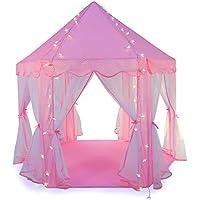Truedays Kinderspielzelt Prinzessin Schloss Spielzelt Bällebad mit Hängenetzen Haus für 3-4 Kinder, Rosa