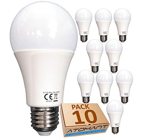 (LA) 10x Bombilla LED A60, Blanco Calido (3000K),12w, Equivalencia 100w, no Regulable, 1120 lúmenes reales certificados.
