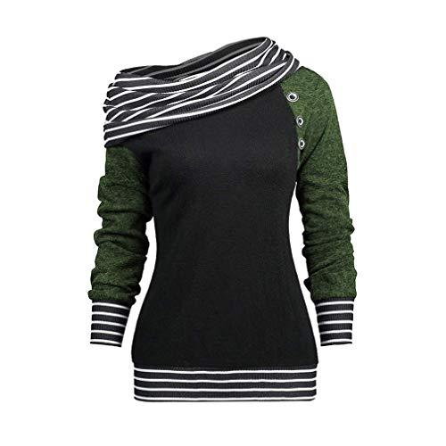 Frauen Raglan Cowl Neck Langarm Split Button Gestreifte Patchwork Tunika Tops Casual Pullover Sweatshirts Grün M -