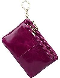 Yaluxe Mujer Gran capacidad Cera de lujo piel genuina Monedero con bolsillo de la cremallera (caja de regalo)