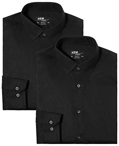Hem & seam camicia classica regular fit uomo, pacco da 2, nero (black), x-large (taglia produttore: x-large 16.5)(pacco da 2)