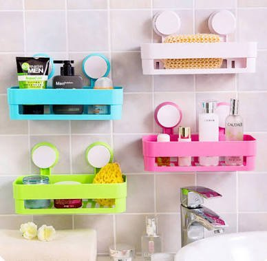 TOTAM Bath and Kitchen Storage Shelf with Suction Cup Mounting for Keeping Toiletries, Kitchen Items and More - Random Color