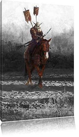 Samurai Krieger auf einem Pferd B&W Detail, Format: 100x70 auf Leinwand, XXL riesige Bilder fertig gerahmt mit Keilrahmen, Kunstdruck auf Wandbild mit Rahmen, günstiger als Gemälde oder Ölbild, kein Poster oder (Hot Ninja Kostüm)