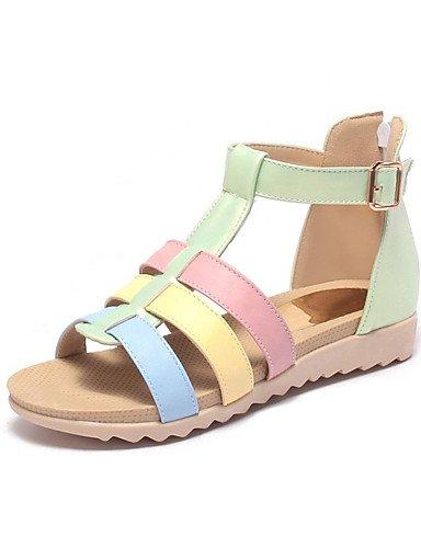 LFNLYX Chaussures Femme-Extérieure / Habillé / Décontracté / Soirée & Evénement-Bleu / Vert / Rose-Talon Plat-Confort-Sandales-Similicuir Green